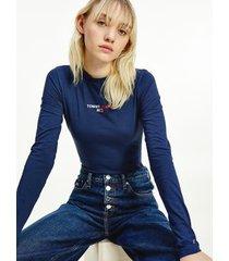 tommy hilfiger women's logo bodysuit twilight navy - xxs