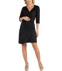 24seven comfort apparel women's elbow sleeve little maternity wrap dress