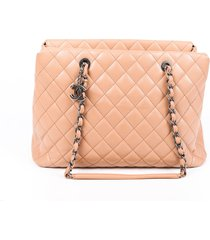 chanel city shopping beige quilted caviar leather tote bag beige sz: m