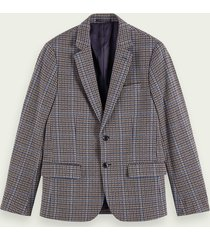 scotch & soda single-breasted geruite blazer van katoen