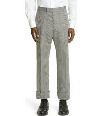 men's thom browne glen plaid classic backstrap wool trousers, size 3 - grey