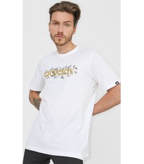 camiseta blanco-dorado adidas performance doodle foil