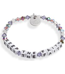 little words project keep the faith beaded stretch bracelet in lilac white/white at nordstrom