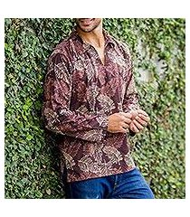 men's cotton batik long sleeve shirt, 'desert breeze' (indonesia)