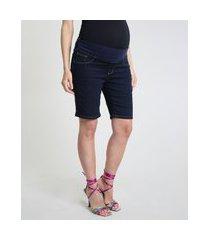 bermuda jeans feminina gestante ciclista azul escuro