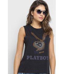 blusa ellus playboy botonê cristal sleeveless feminina