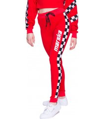 spodnie czerwone checkerboard