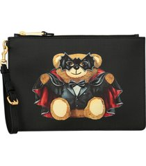 moschino couture clutch moschino couture saffiano leather clutch with bat teddy print