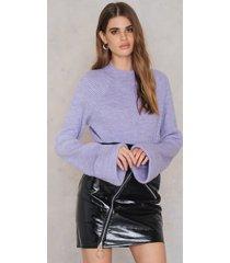 na-kd trend diagonal zip patent skirt - black