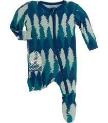 infant boy's kickee pants forest print jersey zip footie, size 0-3m - green