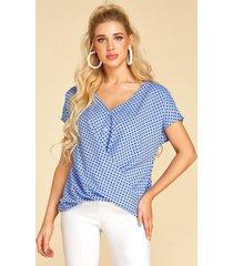 blusa con cuello en v y lunares azul de yoins diseño