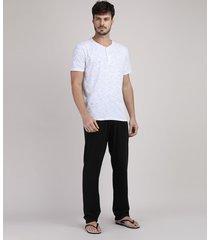 pijama masculino camiseta cinza mescla manga curta + calça preta