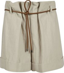 brunello cucinelli rope-belted shorts