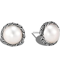 'classic chain' freshwater pearl sterling silver stud earrings