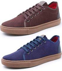 kit 2 sapatenis sandalo levit azul e cafe