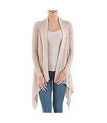 cardigan sweater, 'beige mirage' (peru)