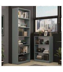 kit madesa estante livreiro 6908 + estante livreiro 6907 - cinza cinza
