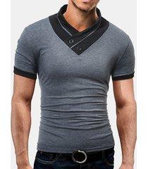 t-shirt manica corta colletto alla coreana casual da uomo tinta unita sottile fit pulsanti top