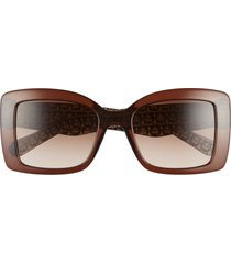 salvatore ferragamo classic 54mm gradient rectangular sunglasses - crystal brown/ brown gradient