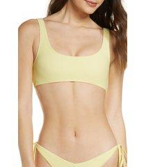 women's frankies bikinis connor bikini top, size medium - yellow