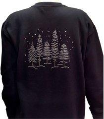 crystal zipper cardigan sweatshirt rhinestone forest design on back. s-3x