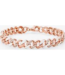 mk braccialetto in argento sterling placcato oro rosa14k con maglie a catena e pavé - oro rosa (oro rosa) - michael kors