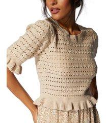 minkpink open-knit ruffled-trim top