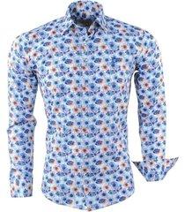 ferlucci heren overhemd bloemen calabria - blauw wit