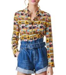 women's alice + olivia postcard print silk shirt, size small - yellow