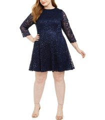 jessica howard plus size sequined lace a-line dress