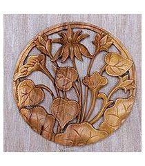 wood relief panel, 'lotus ring' (indonesia)