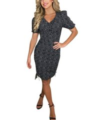 ax paris spotty ruched elasticated tie side dress