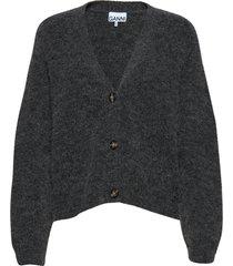 soft wool knit gebreide trui cardigan grijs ganni