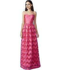 vestido izad saia gode em tule com faixas em zibeline