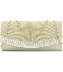 bolsa clutch liage bordada brilho pedraria strass pedra transparente metal dourada - kanui