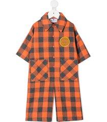 raspberry plum gingham shirt jumpsuit - orange