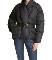 women's frame wrap puffer coat, size x-small - black