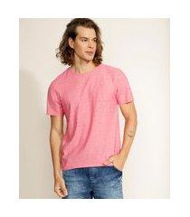 camiseta masculina básica flamê com bolso manga curta gola careca coral