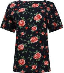 camiseta flores con hojas color negro, talla s