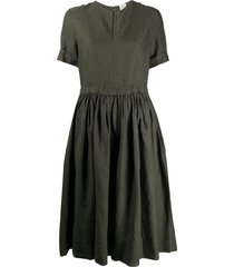 aspesi v-neck drawstring dress - green