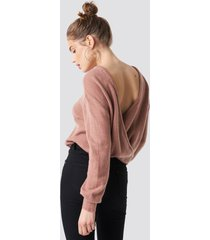 na-kd trend back overlap knitted sweater - pink
