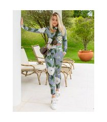 calça miss misses legging com estampa floral cinza