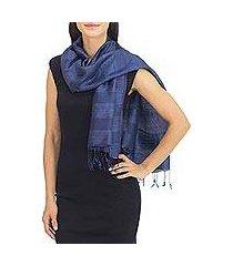 silk and cotton scarf, 'sapphire night' (thailand)