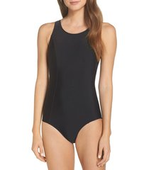 amoena rhodes pocketed one-piece swimsuit, size 20c in black at nordstrom