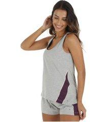 camiseta regata oxer recortes vintage - feminina - cinza cla/roxo esc