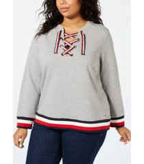 tommy hilfiger plus size lace-up sweatshirt, created for macy's