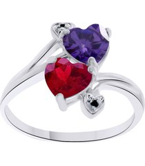 red garnet & purple amethyst women's bypass enagagement ring 14k white gold over
