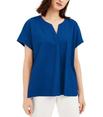 alfani petite buttoned-back top, created for macy's