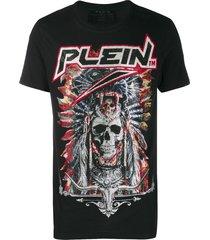 philipp plein cowboy studded skull t-shirt - black