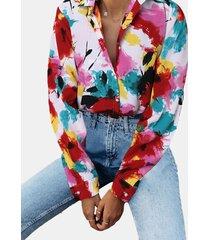 camicetta casual da donna a maniche lunghe con stampa tie-dyed